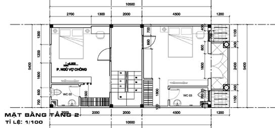 Nhà Ống 2 Tầng Có Gác Lửng mặt bằng tầng 2