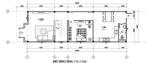 Nhà ống 2 tầng mái thái mặt tiền 5m 3 phòng ngủ