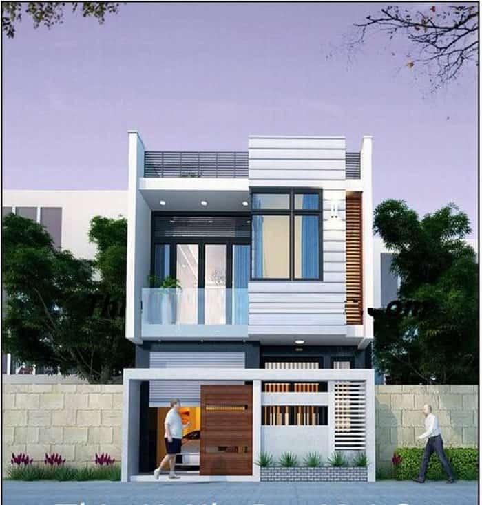thiết kế nhà 2 tầng kích thước 5x16m
