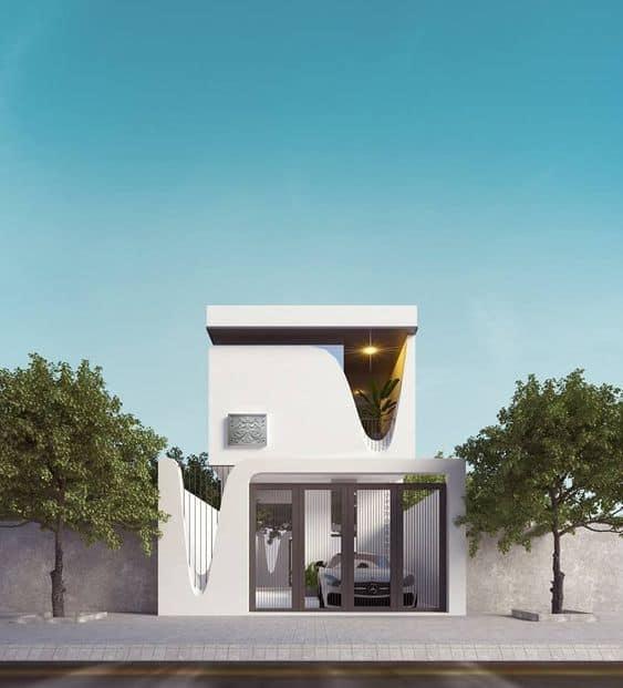 Thiết kế nhà ống 2 tầng 5x20 kiến trúc độc đáo
