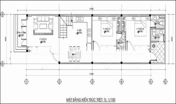 Bản vẽ thiết kế nhà ống 2 tầng 5x20m