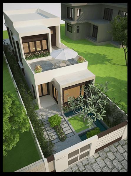 Thiết kế nhà ống 2 tầng 5x20 kết hợp sân vườn